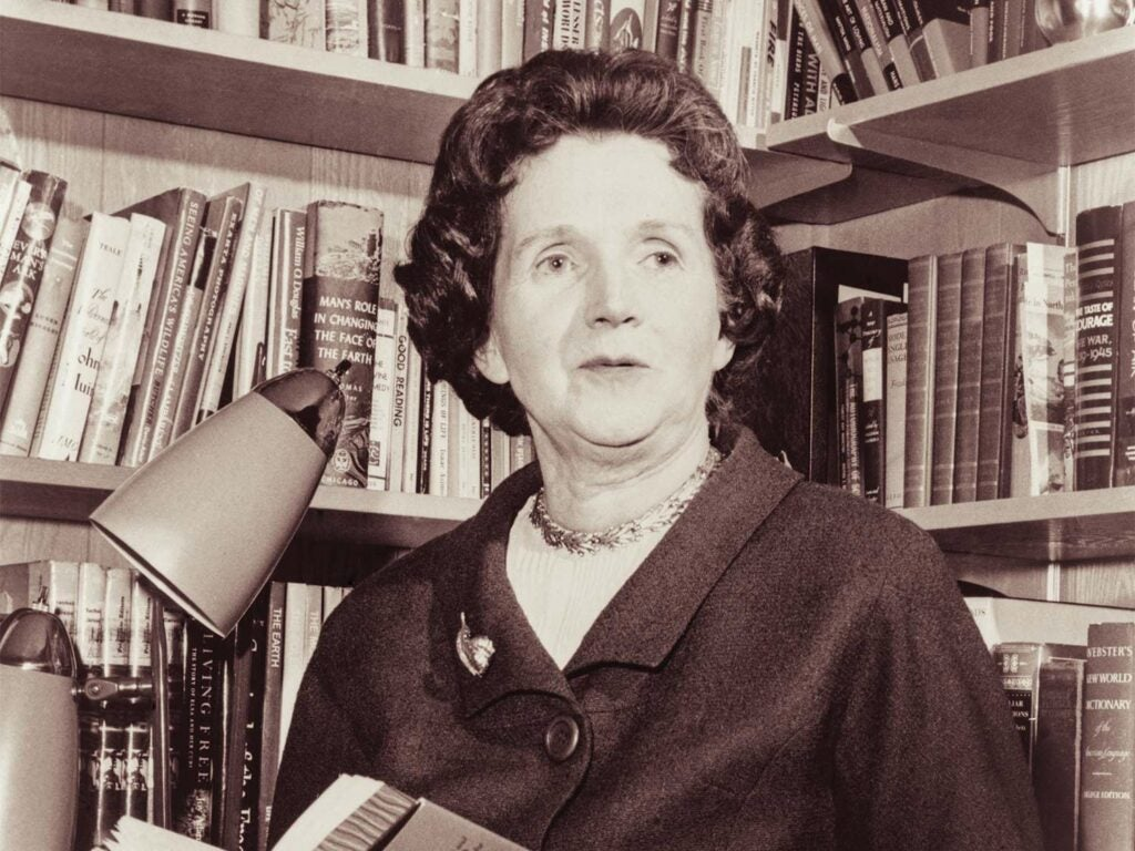 A black and white photo of Biologist Rachel Carson