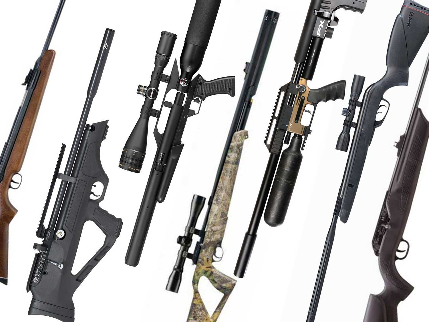 A collage of air guns for squirrel hunting.