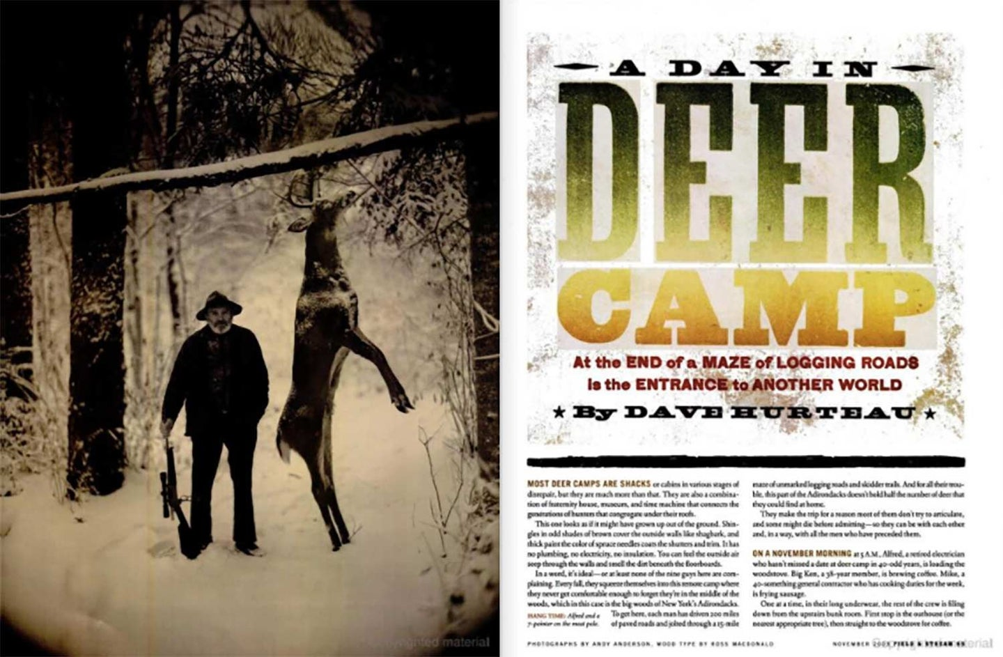 A clipping from Field & Stream magazine showing a hunter next to a meat pole.