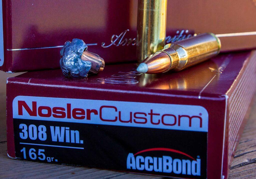 A box of Nosler Custom Accubond ammunition.