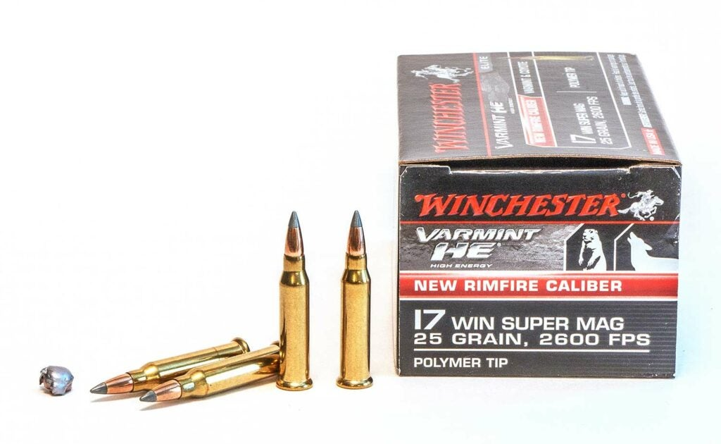 A box of Winchester 17 Winchester Super Mag ammunition.