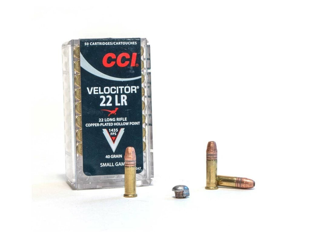 A box of CCI Velocitor 22 LR ammunition on a white background.