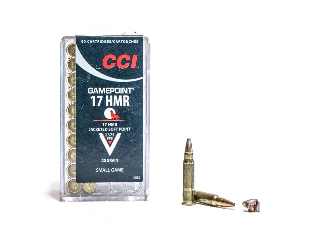 A box of CCI GamePoint 17 HMR ammo on a white background.