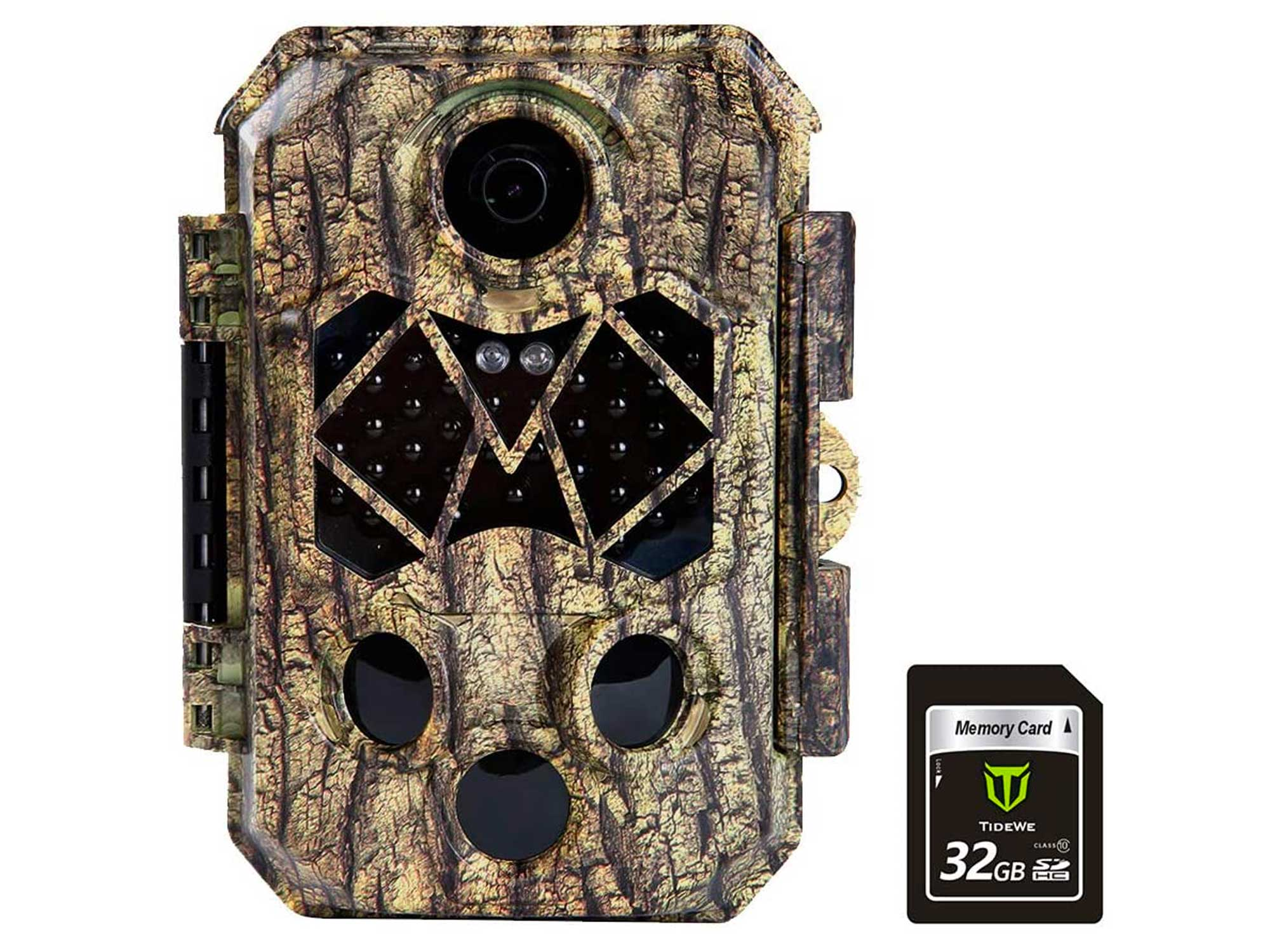 TideWe Trail Camera with 32GB SD Card, 32MP 4K Hunting Camera with 0.2s Trigger 3 PIR, 120° Range Night Vision 45 LEDs Waterproof Scouting Camera for Wildlife Monitoring, Home Security (Tree)