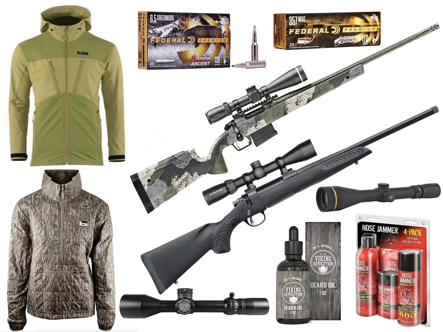 Collage of hunting gear