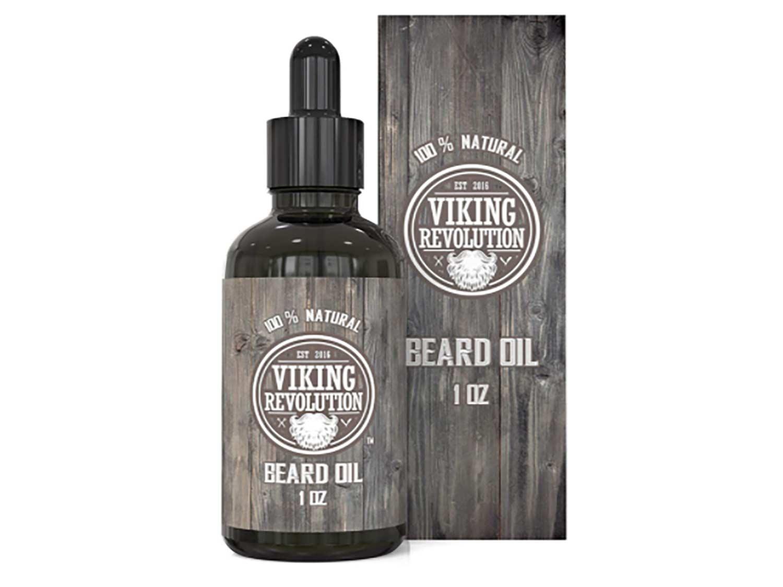 A bottle of Viking Revolution beard oil.