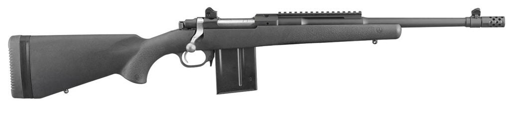 The Ruger Scout Rifle on a white background.
