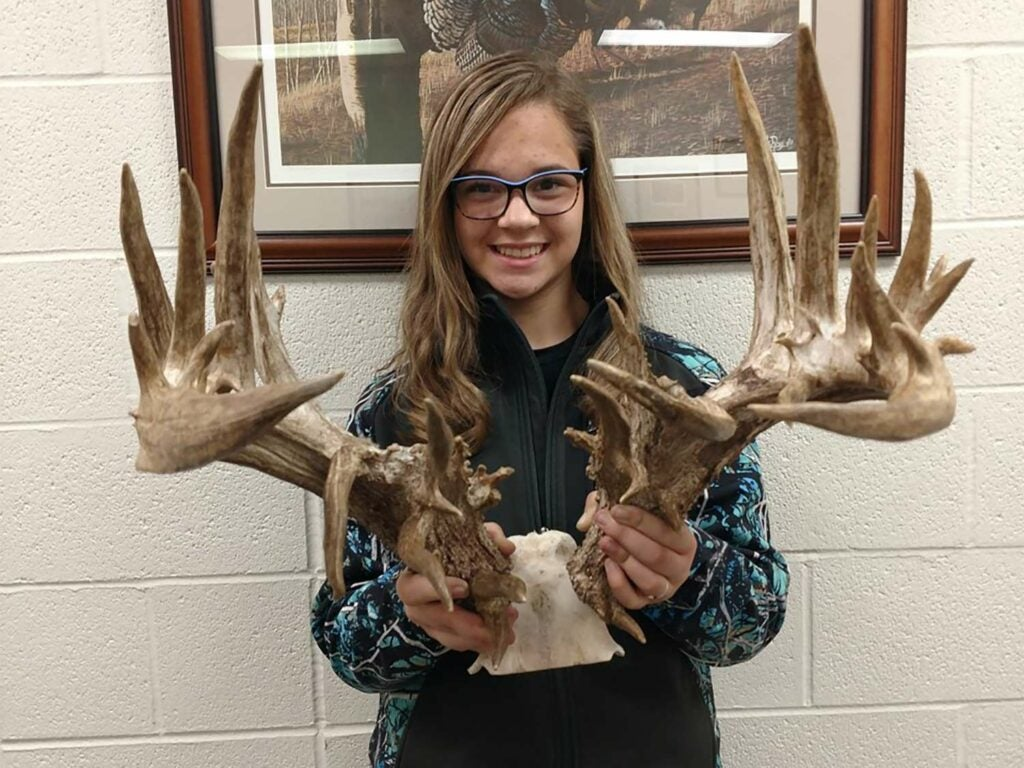 A young girl holds up a set of antlers attached to a skull plate.