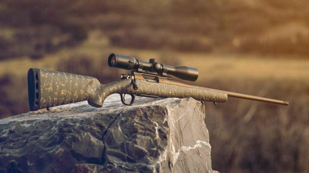 A Christensen rifle on a rock.
