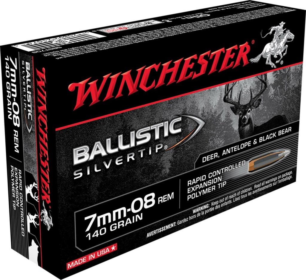 A Winchester Supreme Ballistic Silvertip ammo n a white background.