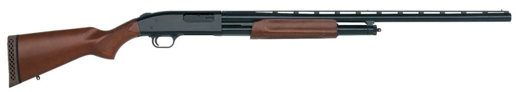 A Mossberg 500 rifle on a white background.