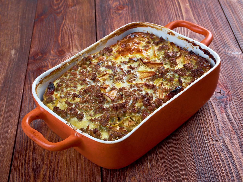 A casserole dish full of venison bobotie.
