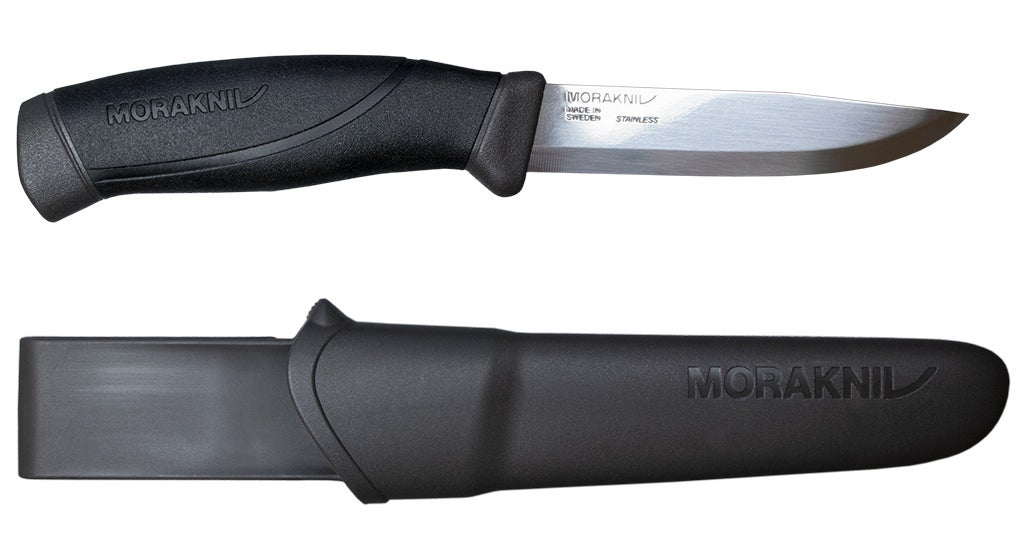 A Morakniv Companion knife on a white background.
