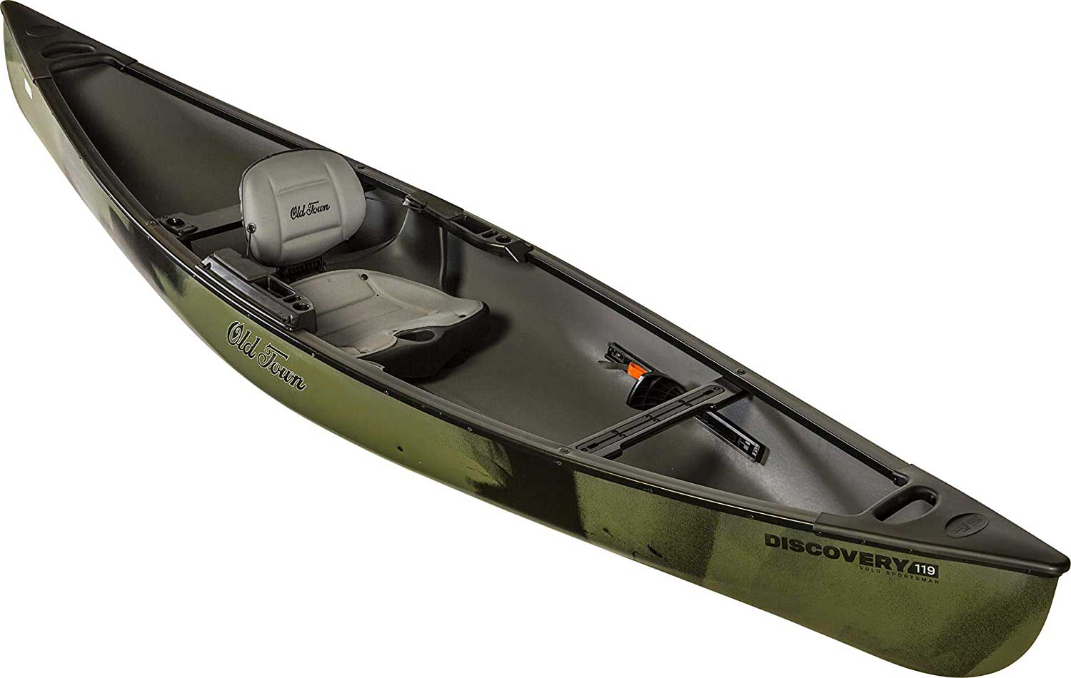 An Old Town Solo Sportsman canoe on a white background.