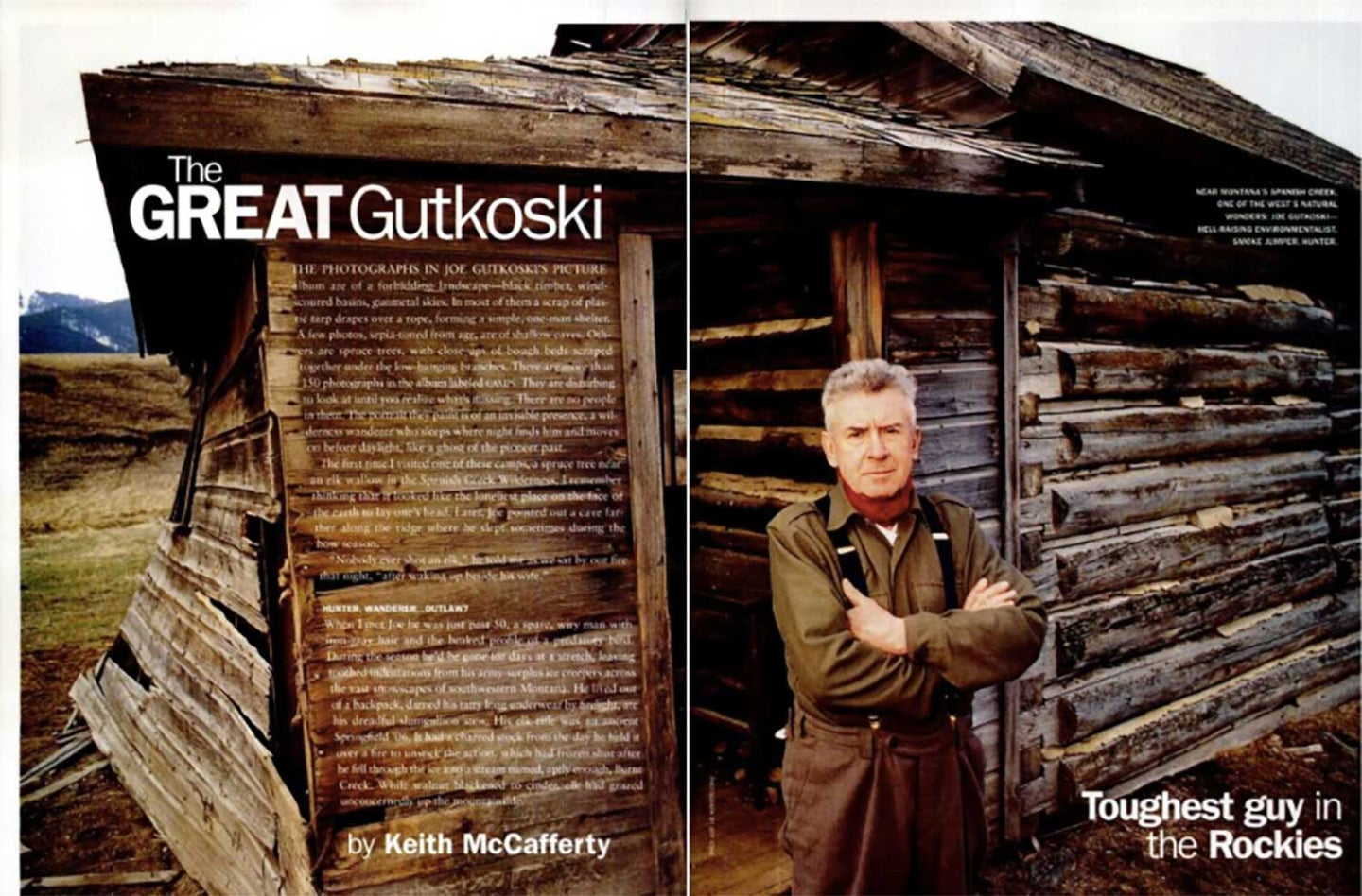 A clipping from Field & Stream Magazine showing a man standing in front of a wooden cabin.