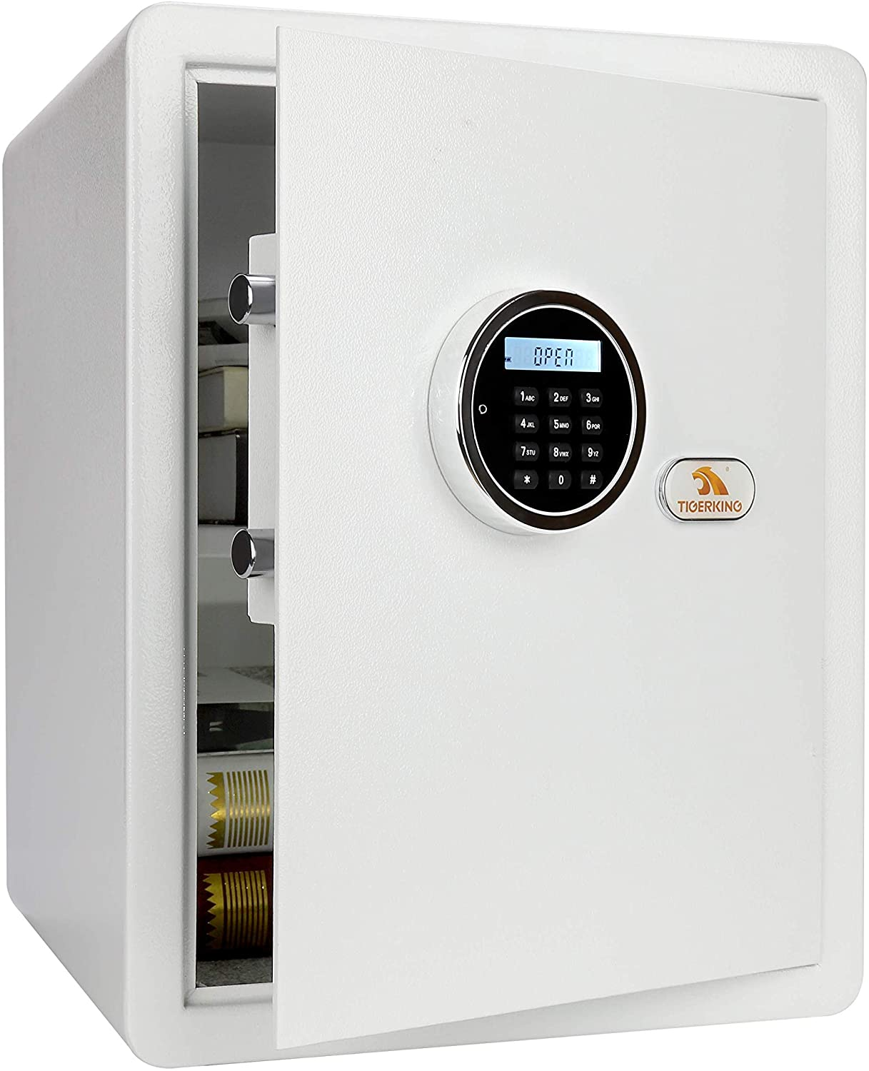 TIGERKING Security Home Safe, Digital Safe Box With Key, White- 1.8 Cubic Feet