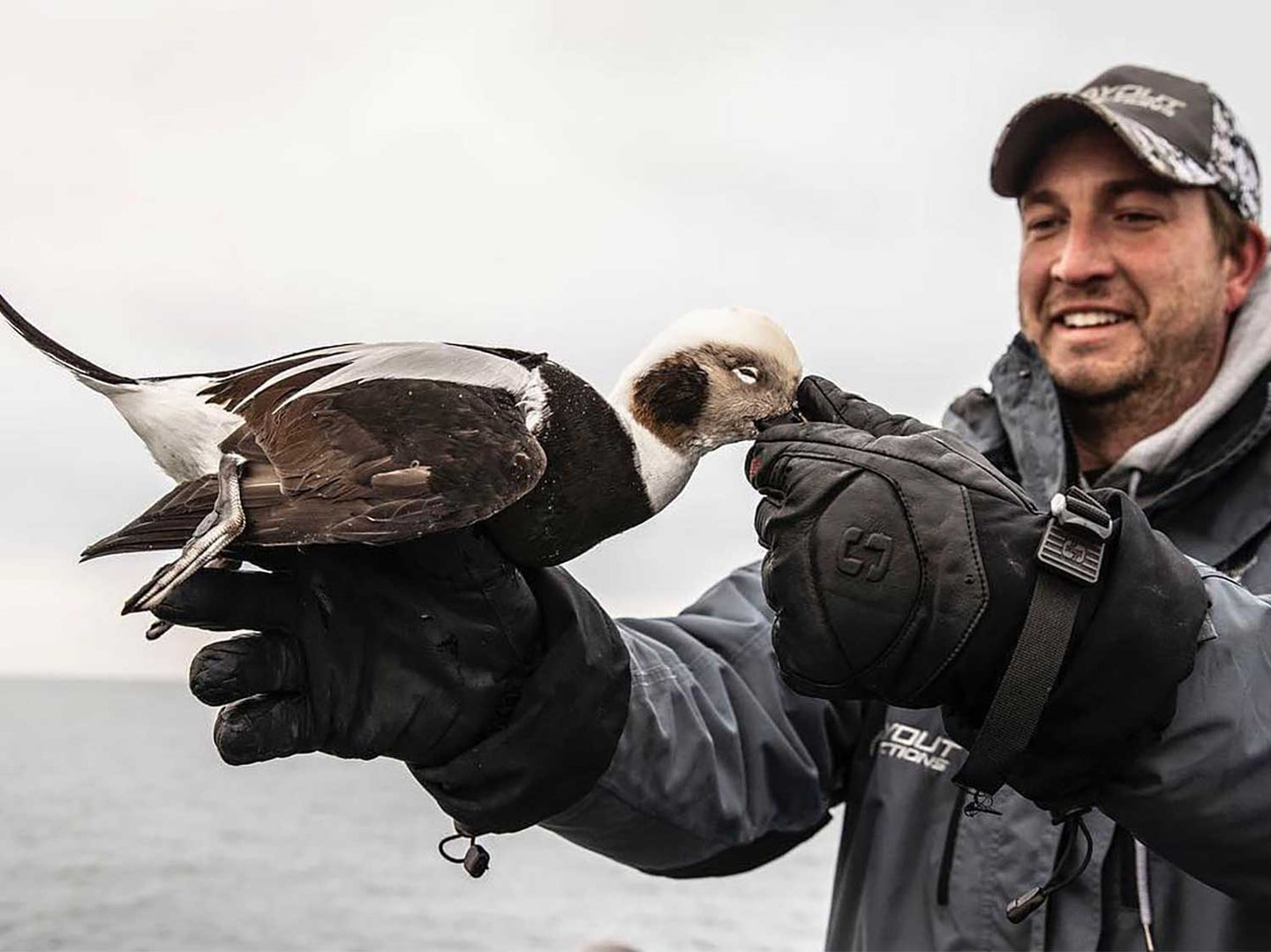 A hunter holds up a drake duck long-tail.