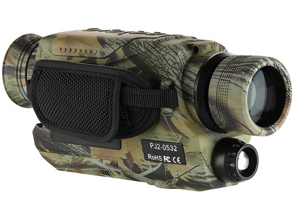 BOBLOV Night Vision Monocular with 16G Card, Digital Infrared Night Scope for Hunting, 5x32 Monocular with Camera & Camcorder, 200Yards Full Dark, Camouflage with Extra Fliter for Day (Camouflage)