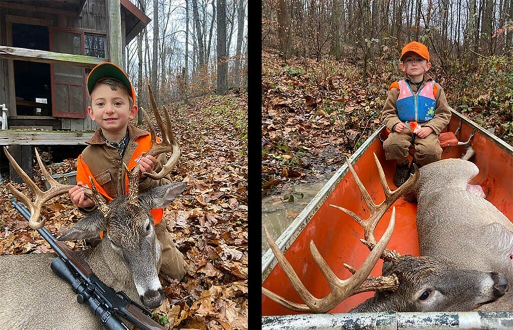 A side by side collage of a young boy kneeling beside dropped whitetail deer.