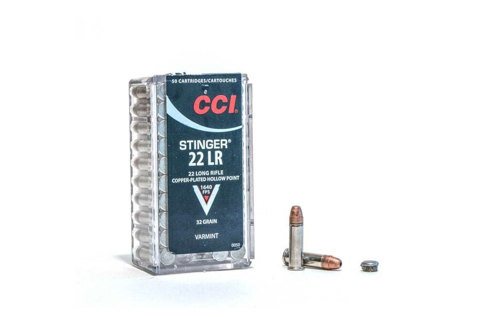 A box of CCI Stinger ammo on a white background.