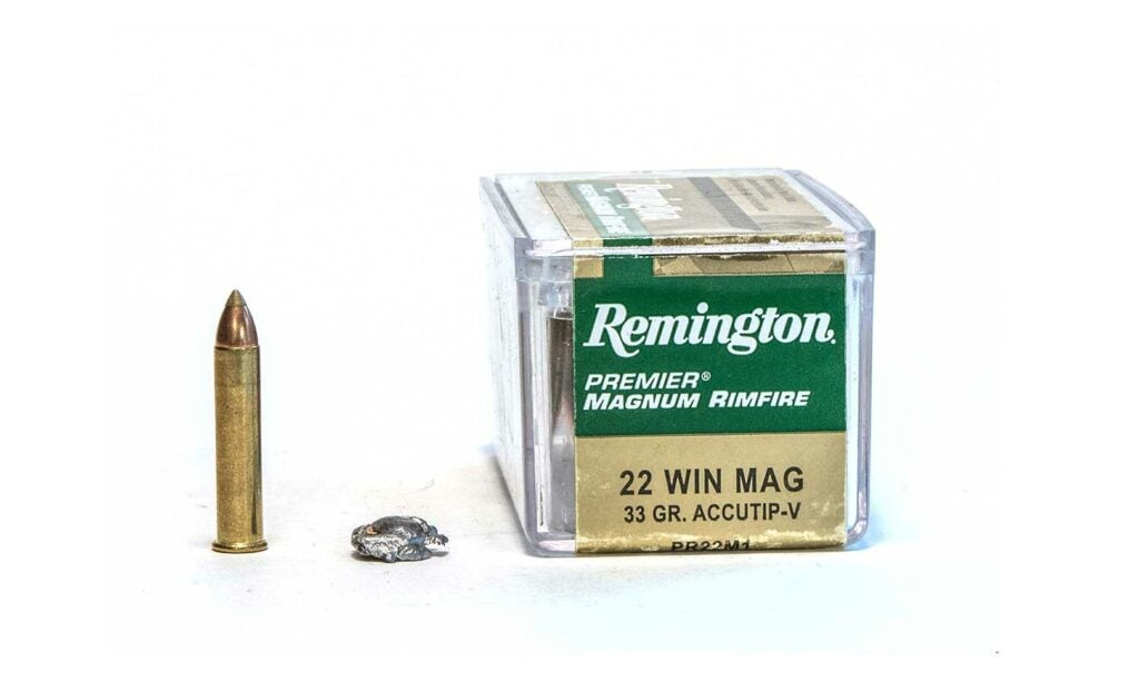 A box of Remington 22 Winchester Mag ammo.