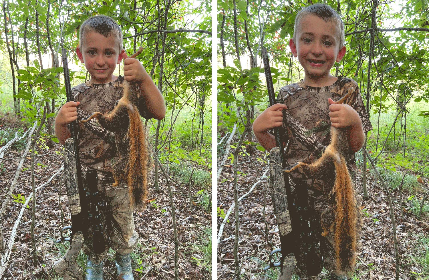A small child holding up a squirrel in the woods.