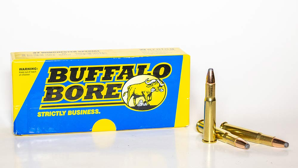 A box of Buffalo Winchester Special ammo on a white background.