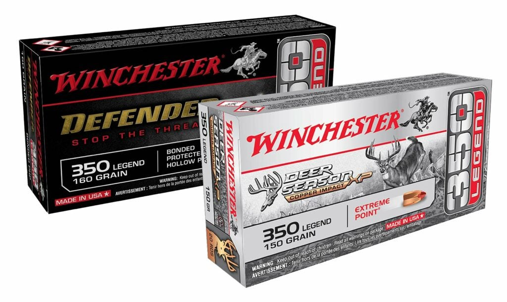 Boxes of Winchester 350 legend ammo.