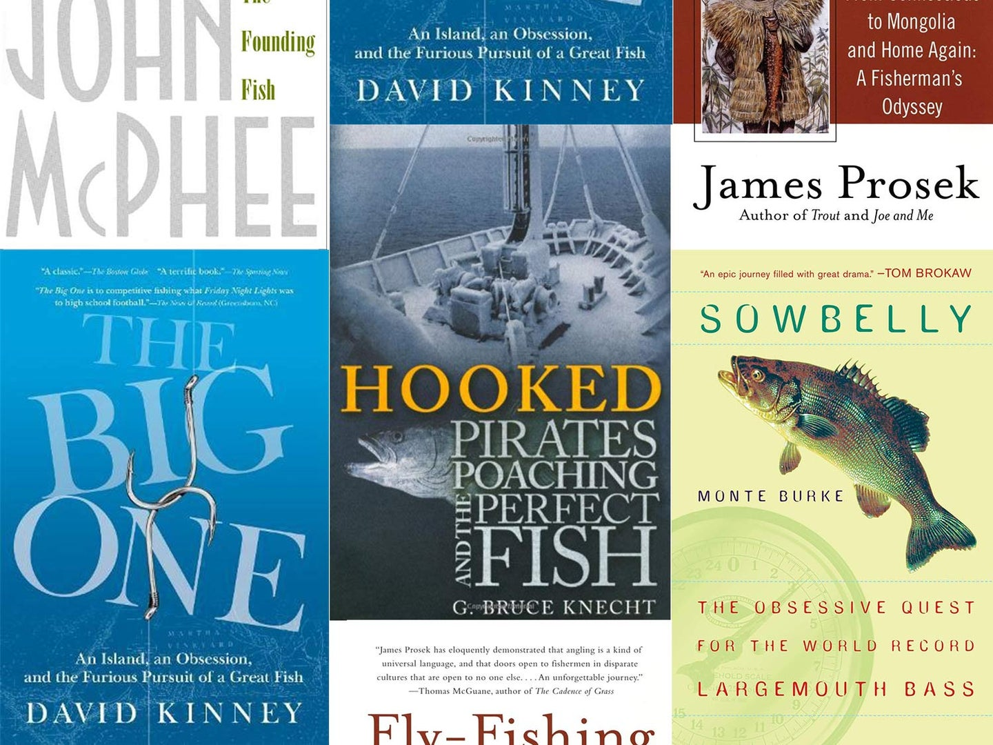 A collage of winter angling books.