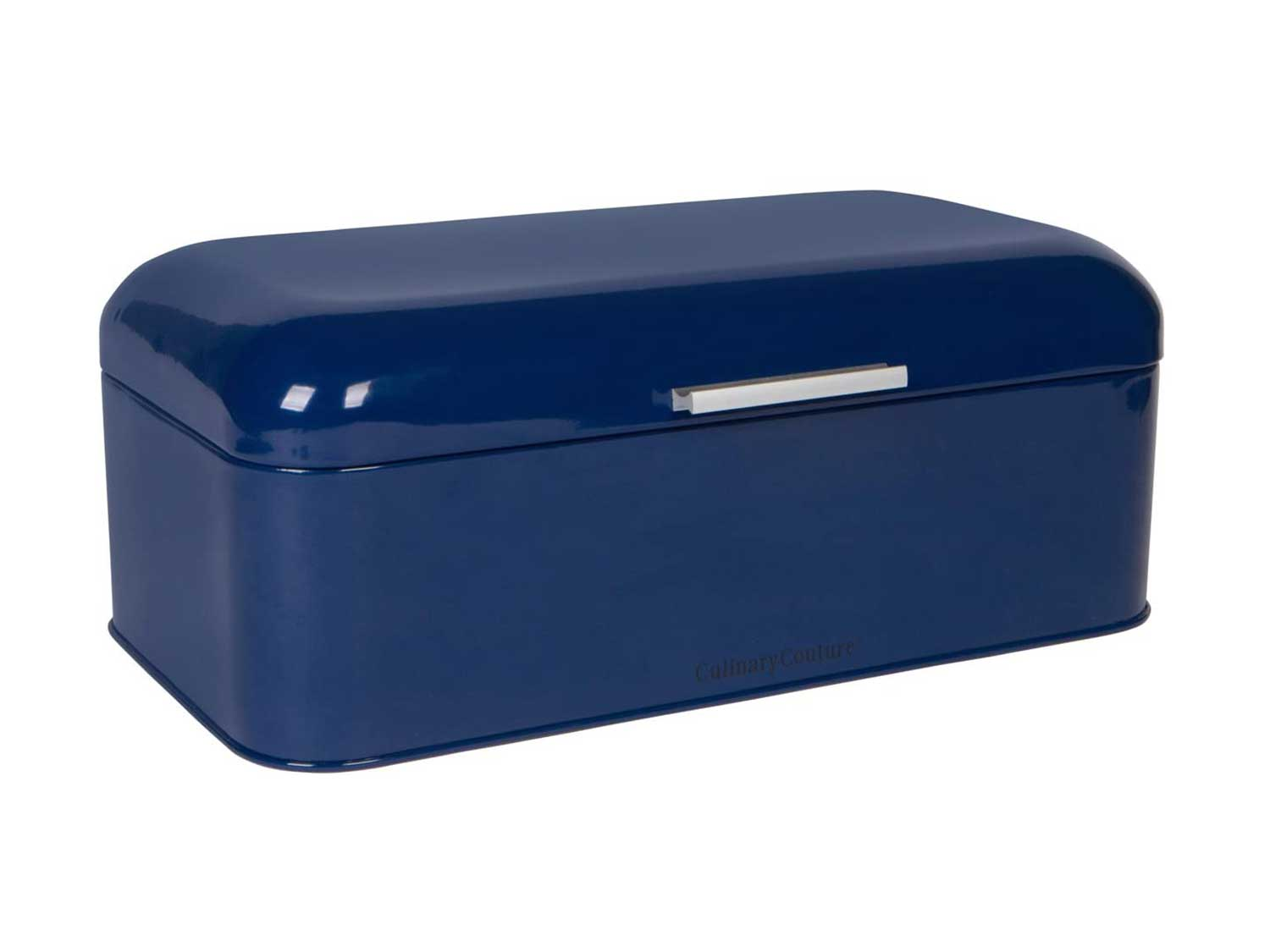 """Large Blue Bread Box - Powder Coated Stainless Steel - Extra Large Bin for Loaves, Bagels & More: 16.5"""" x 8.9"""" x 6.5"""""""