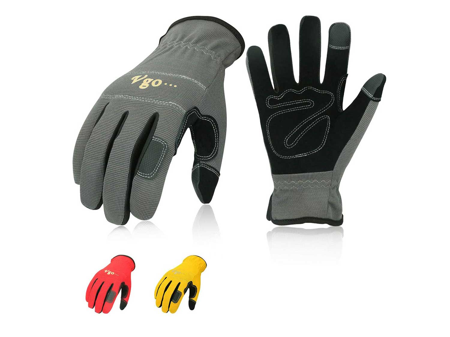Vgo 3-Pairs Synthetic Leather Work Gloves, Multi-Purpose Light Duty Work Gloves, Breathable & High Dexterity, Touchscreen (Size XL, Yellow, Red & Grey, NB7581)