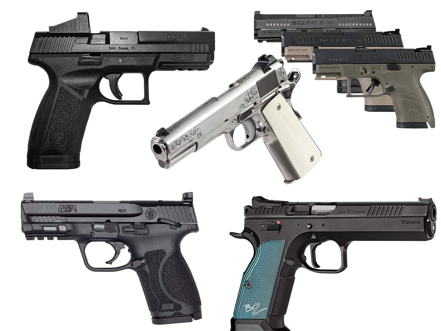 A collage of handguns on a white background.