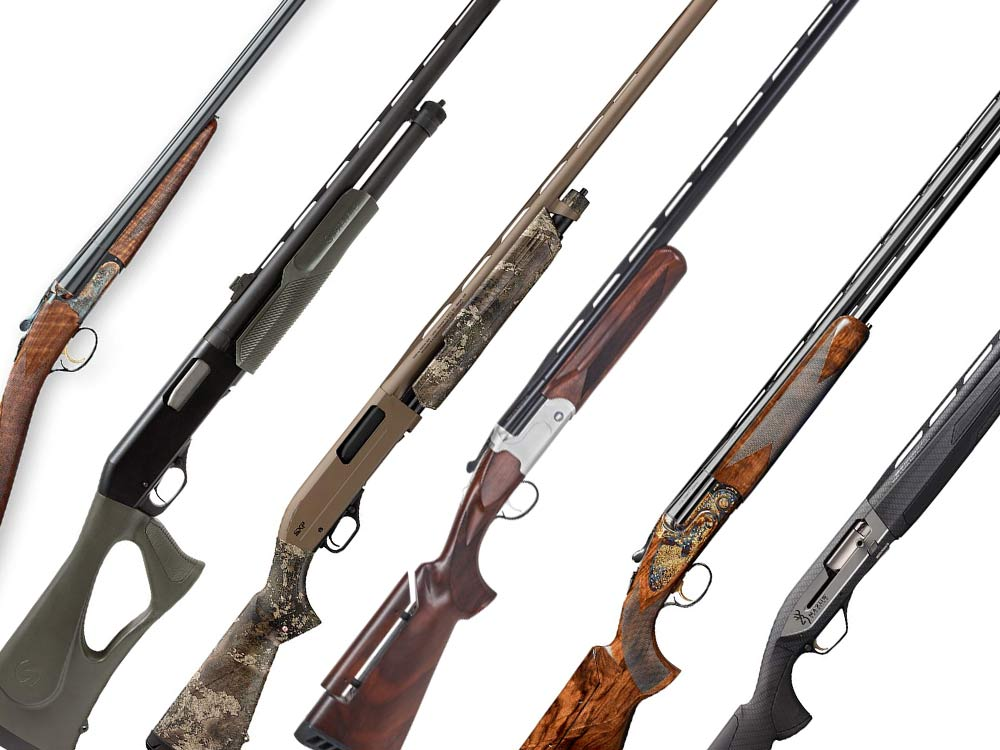A collage of shotguns on a white background.