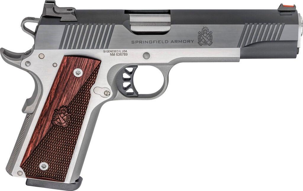 10mm two-tone 1911 handgun.