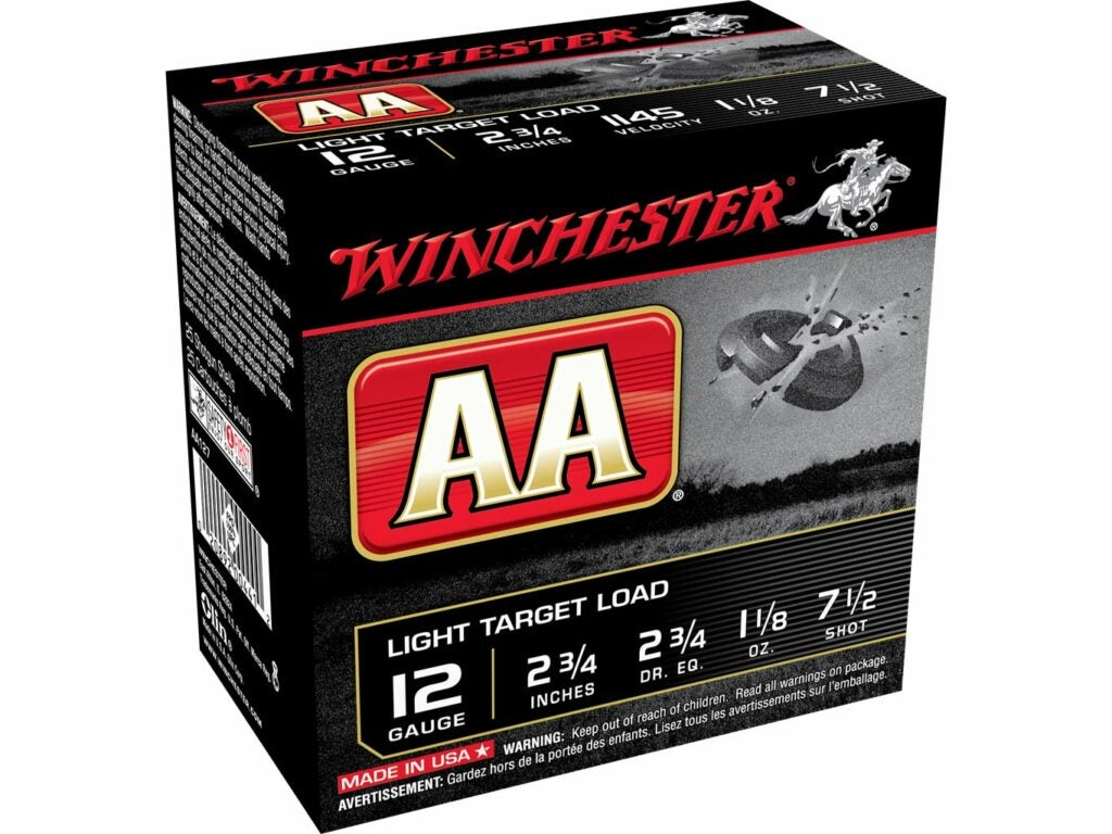 Winchester AA Light Target 12 gauge, 1 1/8 ounce 7 ½ shot 1145 fps