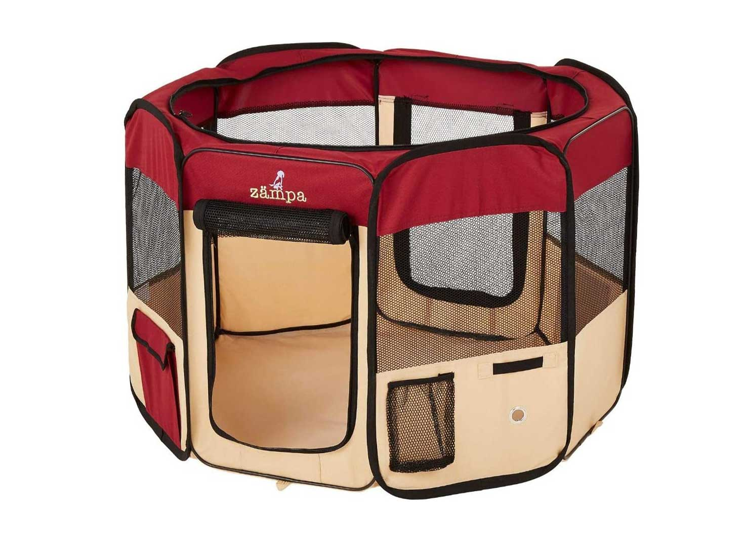 Zampa Portable Foldable Pet playpen Exercise Pen Kennel + Carrying Case for Larges Dogs Small Puppies/Cats | Indoor/Outdoor Use | Water Resistant
