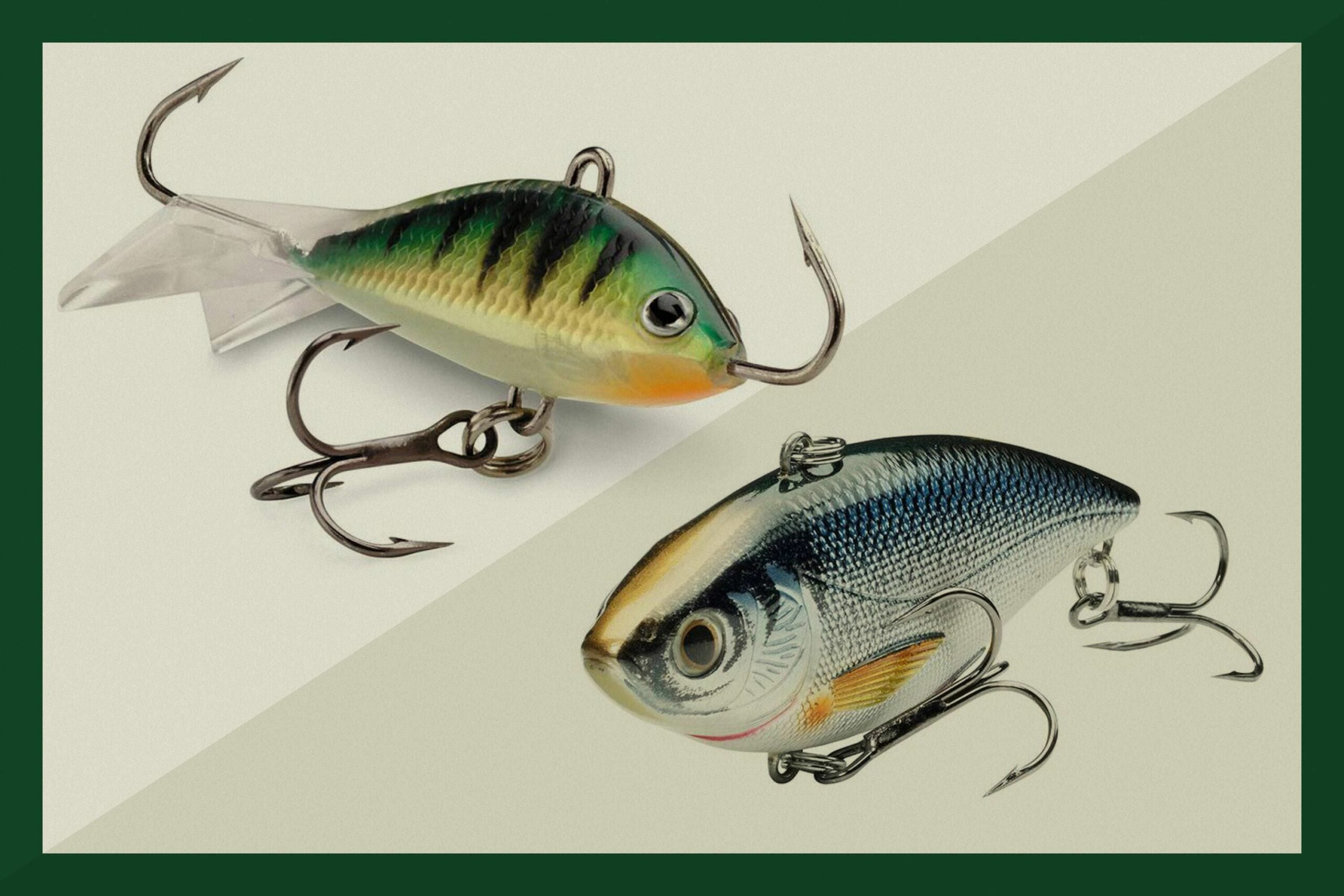 Two fishing lures on a tan background.