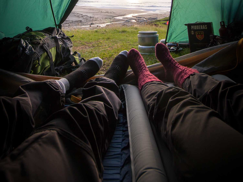 Sleeping on camping mattress