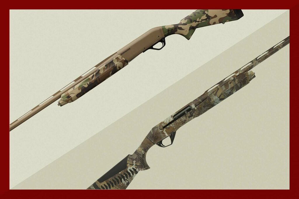 Two shotguns collaged on a tan background.