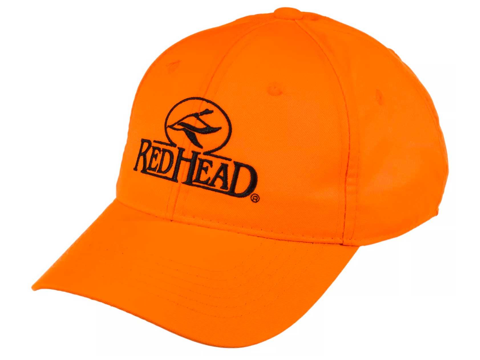 A baseball-style orange hunting cap