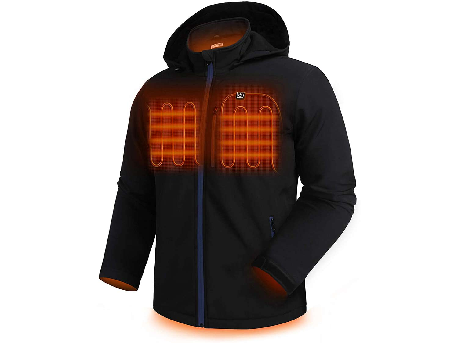 HOTOUCH Men's Heated Jacket Detachable Hood Coat Zipped Waterproof Thermal Clothing
