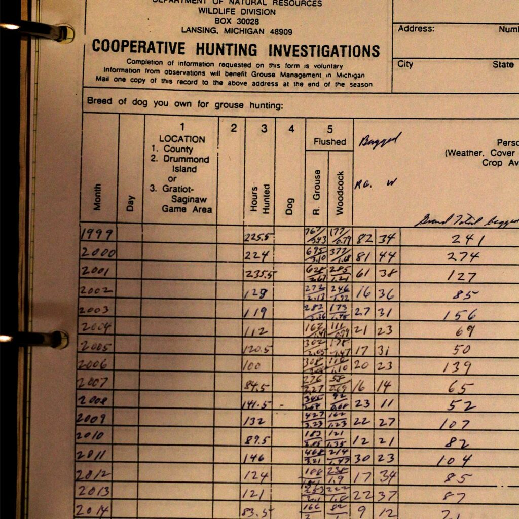 A sheet from a wildlife cooperator logbook.