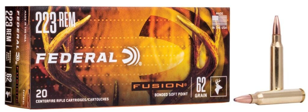 A box of Federal Fusion deer ammo.