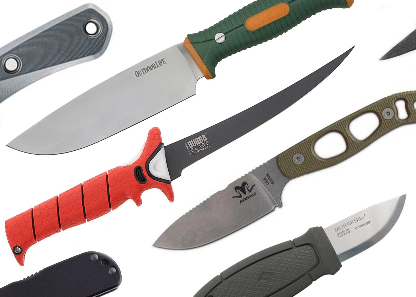 A collage of outdoor knives.