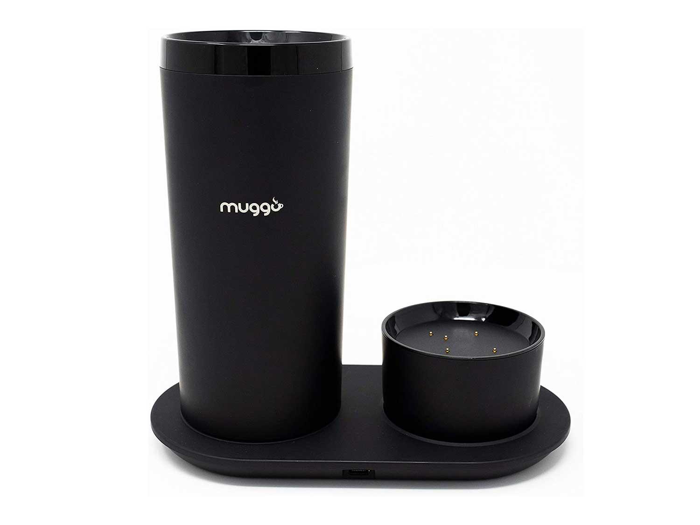 Muggo 12 oz Temperature Control Mug with 3 hour Battery Life, Tea, Coffee, & Hot Beverage Warmer, Heated Travel Mug with Dual Charger