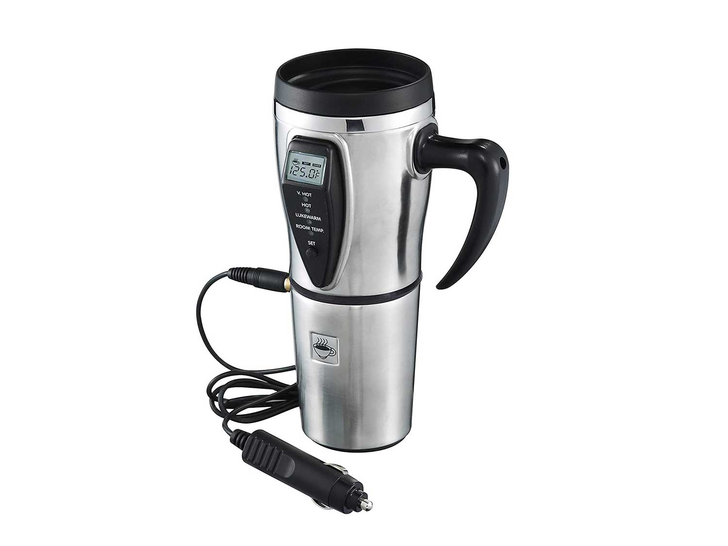 Heated Smart Travel Mug with Temperature Control - 16 ounce- 12V - Stainless Steel