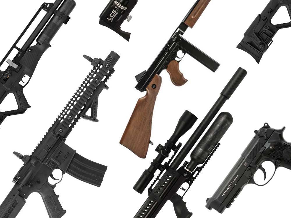 A collage of air guns.
