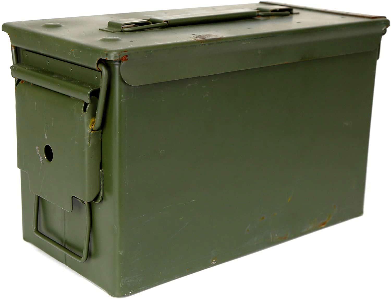 A vintage ammo box.