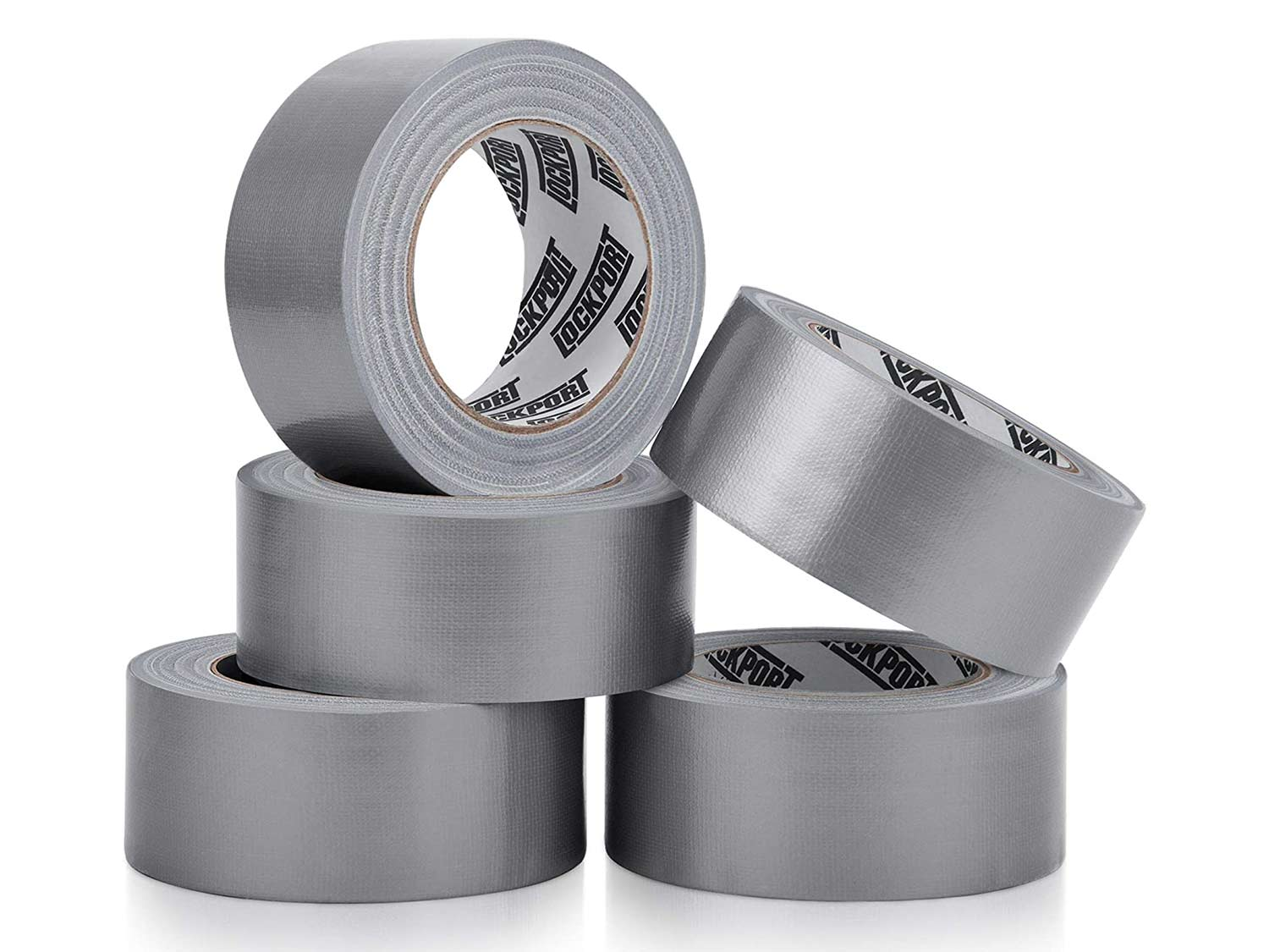 Five rolls of duct tape on a white background.