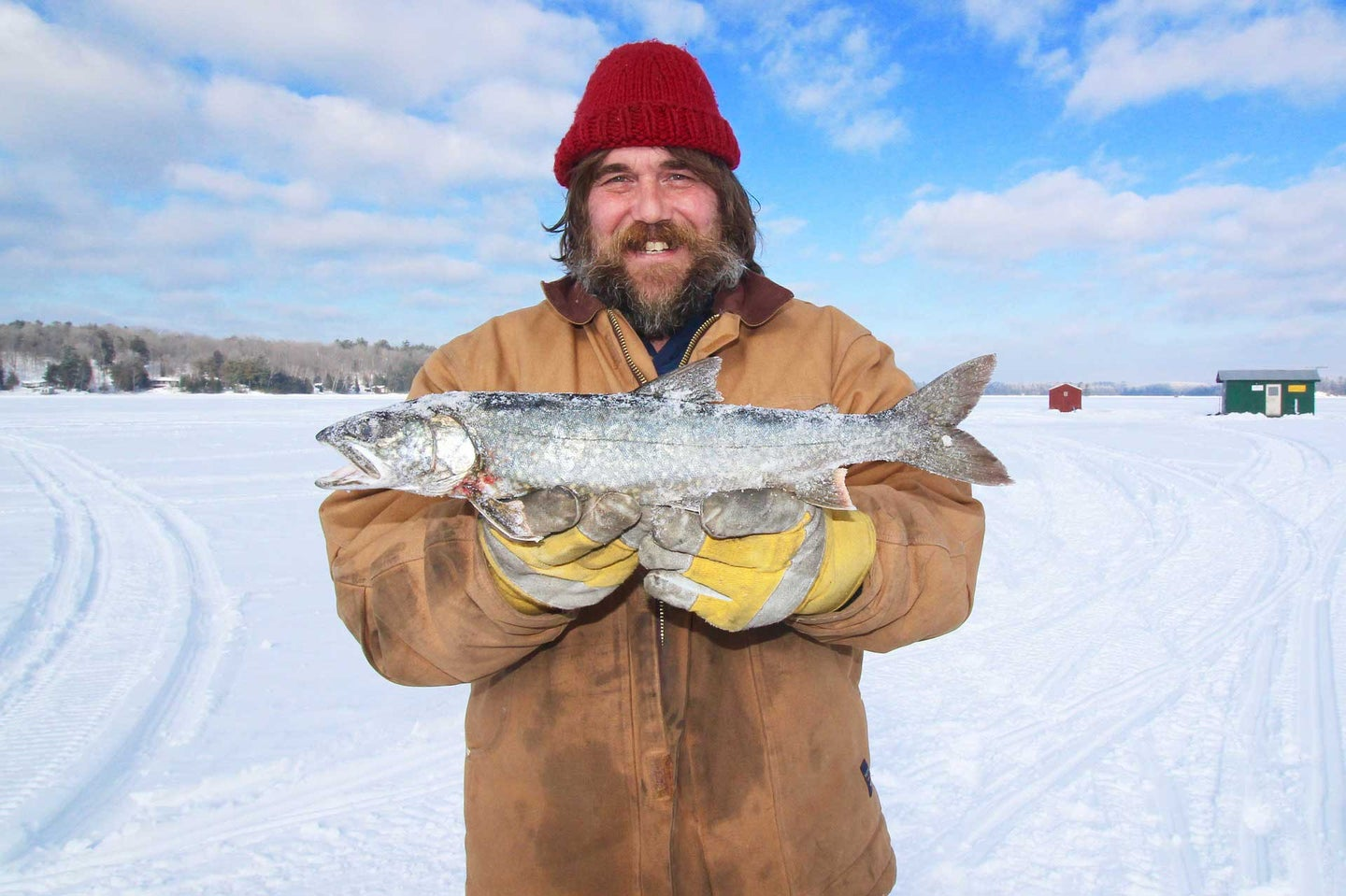 Guy holding a fish on the ice